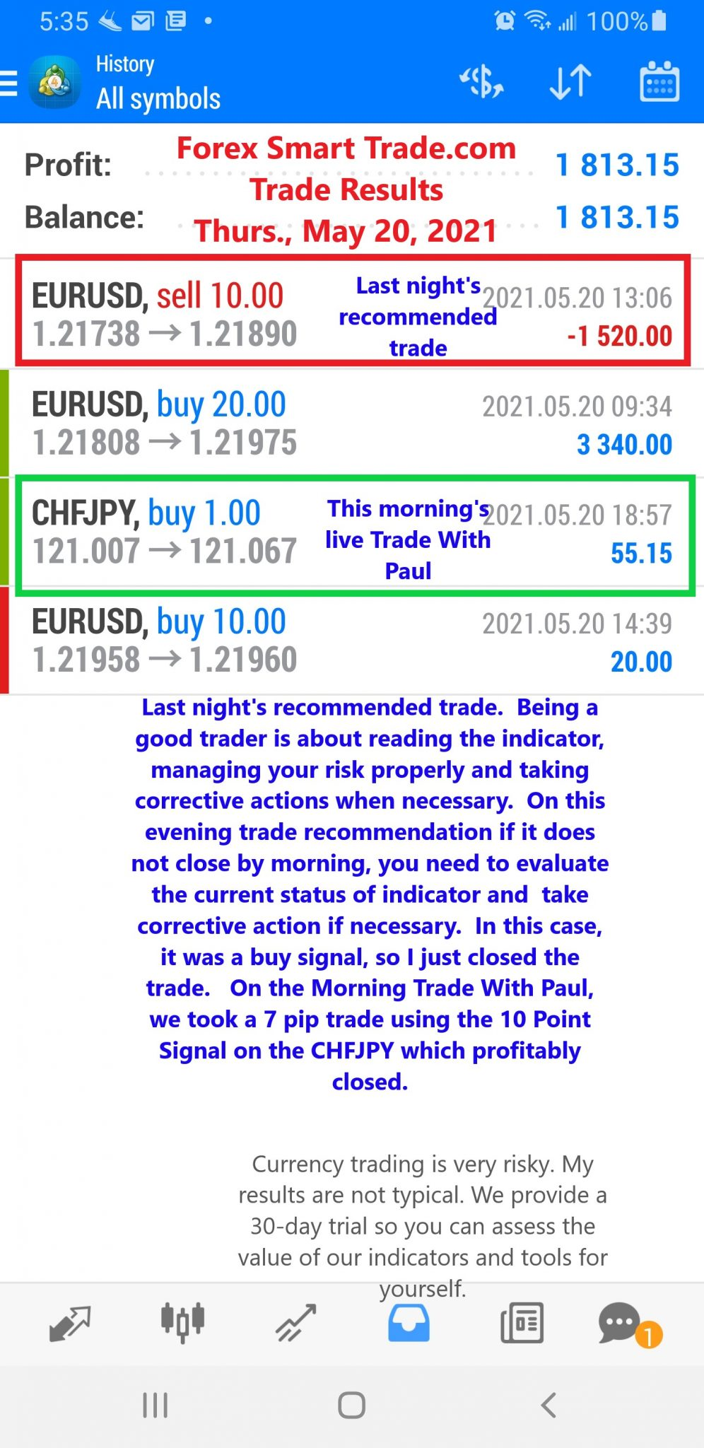 Trade Results Thursday, May 20, 2021 - Forex Smart Trade