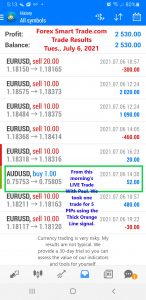 Today Currency Trading Results From Forex Smart Trade